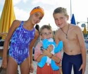 Siblings Francesca Geromini, age nine, Lucas Geromini, age four, and Joey Geromini age eight, of Linwood get ready to take part in the Auxiliary of Shore Memorial's Annual Carole Schiavo Kids Swim for Health on July 10.